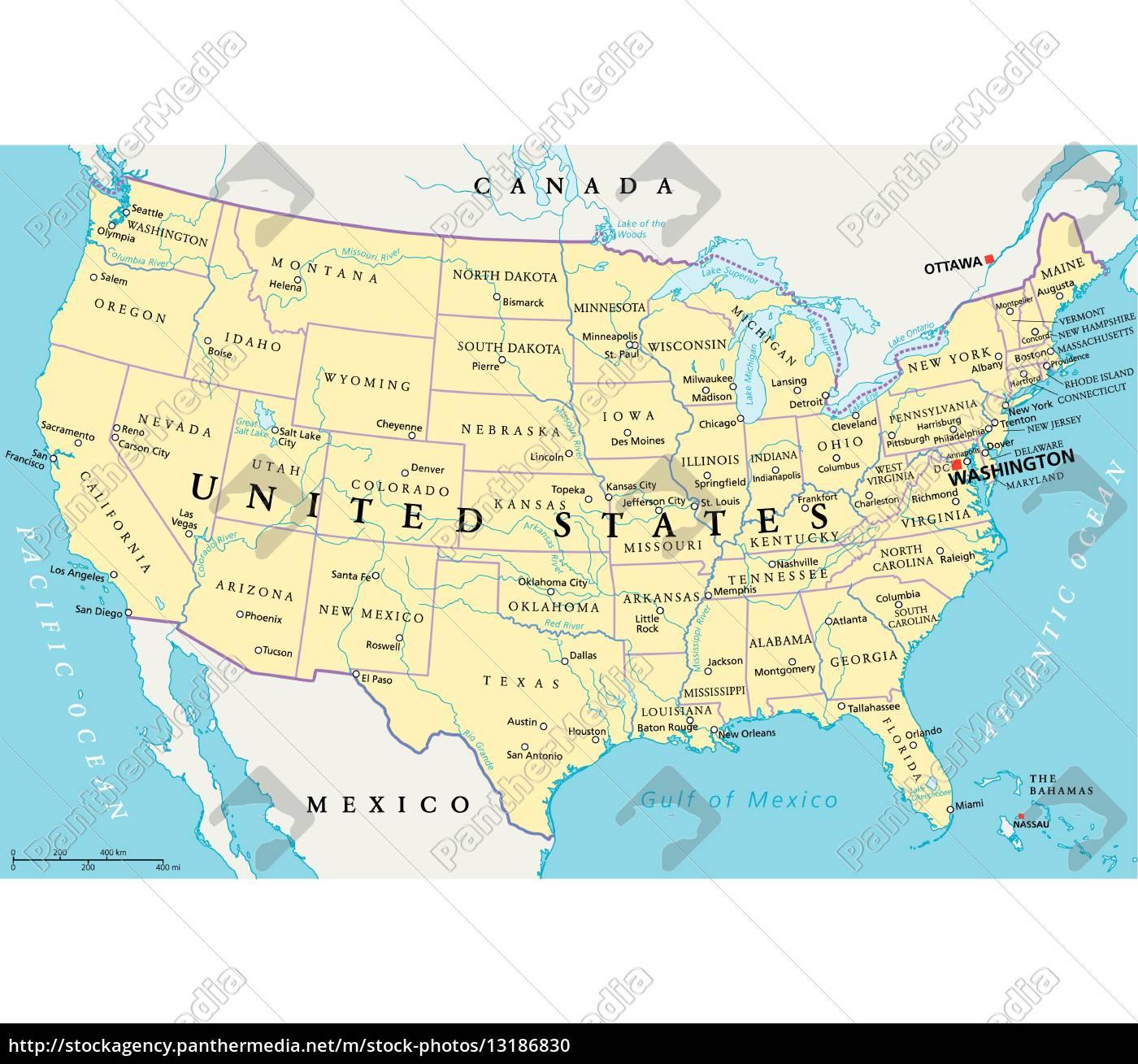 La Cartina Degli Stati Uniti D America.Mappa Politica Degli Stati Uniti D America Stockphoto 13186830 Comprate Immagini Rf Da Panthermedia