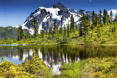 foto lago evergreens mount shuksan washington