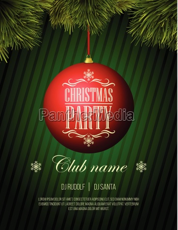 natale template party flyer pallina