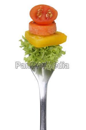 cibo rilasciato forchetta vegetariano pomodoro nutrizione