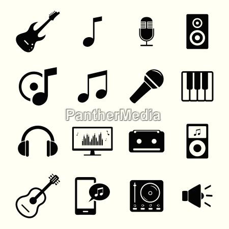 raccolta di icone flat media audio