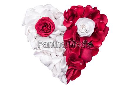 cuore dei petali di rosa bianco