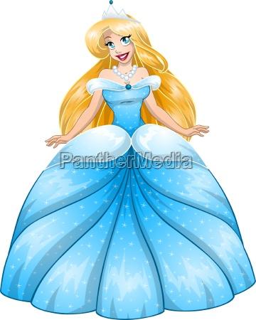 principessa bionda in abito blu