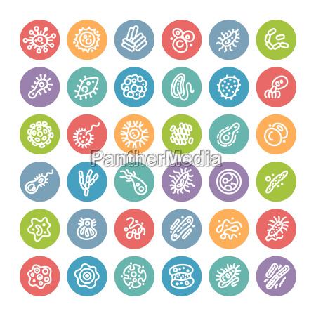 set di icone rotonde piatte con