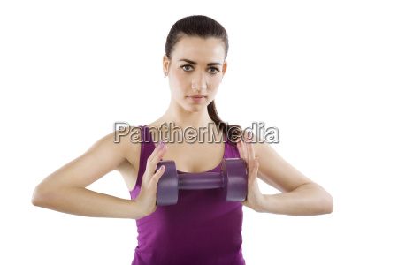 beautiful girl with dumbbells isolated