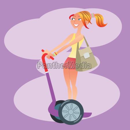 ragazza turistica viaggia su uno scooter