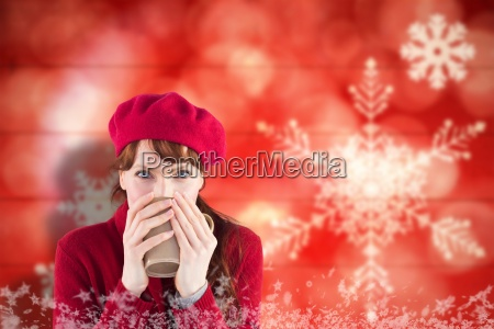 immagine composita della donna che beve