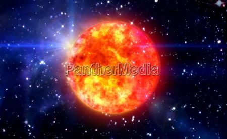 solar sun in blue space