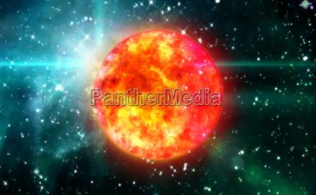 solar sun in green space