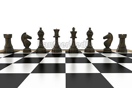 pezzi degli scacchi neri di fila