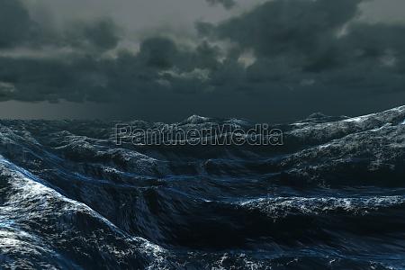 blu ruvido onde illustrazione digitale tempestoso