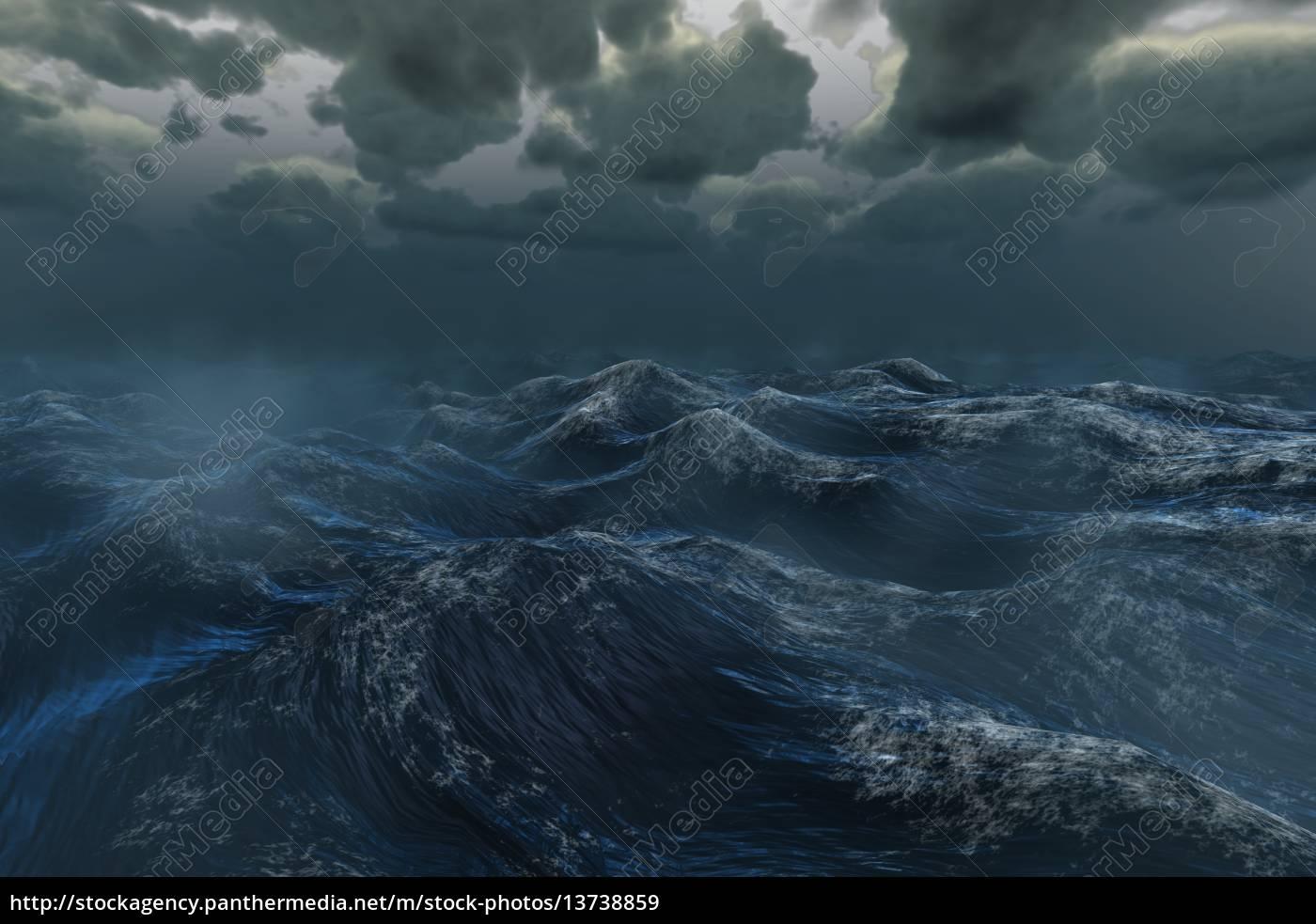 rough, stormy, ocean, under, dark, sky - 13738859