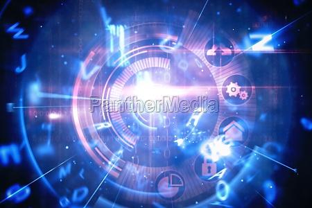 interfaccia tecnologica blu e rossa