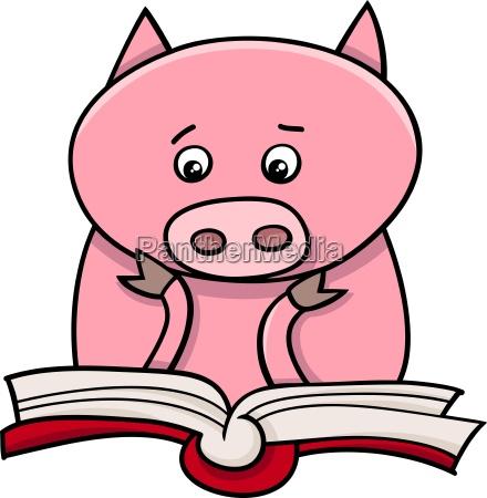 illustrazione maialino fumetto leggere apprendimento cartone