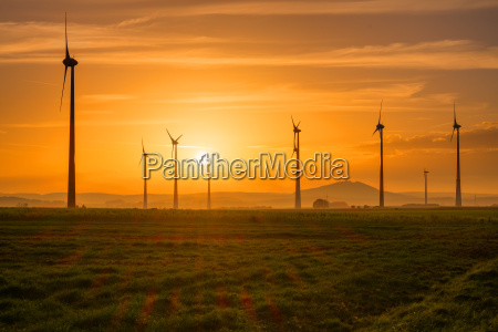 wind turbines at sunset in germany