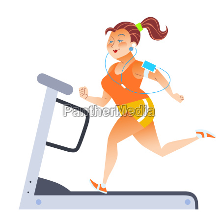 donna, grassa, sul, tapis, roulant, sportivo - 13810667