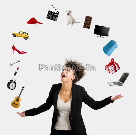 donna donne oggetti giocoliere giocoleria desiderio
