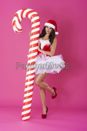 beautiful sexy girl wearing santa claus