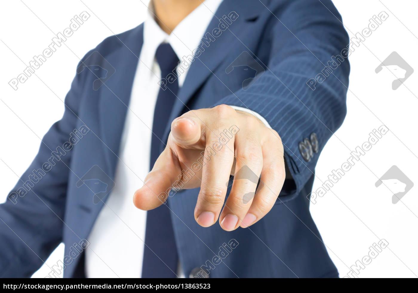 uomo, d'affari, che, tocca, schermo, o - 13863523