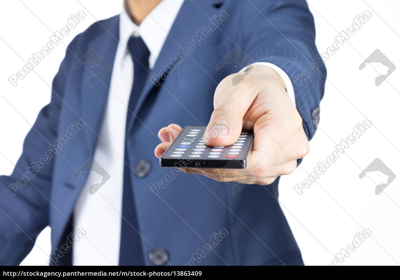 uomo, d'affari, con, telecomando, isolato, su - 13863409