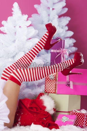 legs of sexy santa claus with