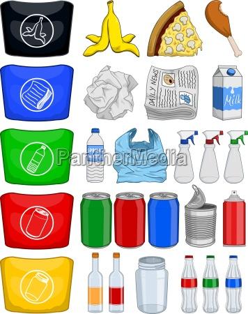 bottiglie alimentare lattine cestino della carta