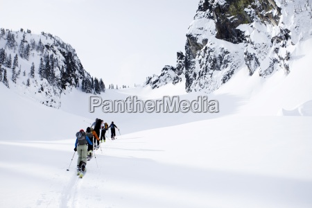 a group of skiers in the