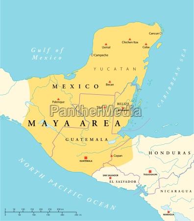 mappa dellarea dellalta cultura maya