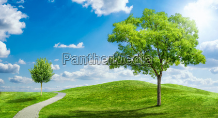 paesaggio idilliaco con cielo nuvoloso