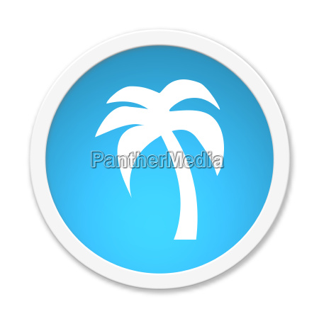 round turquoise button with palm tree