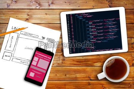 sito web wireframe schizzo e codice