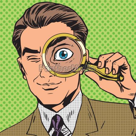 luomo e un detective guardando attraverso