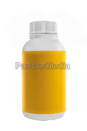 contenitore in plastica bianca con etichetta