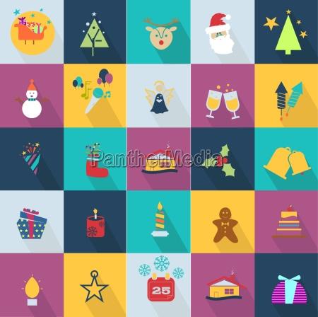 icone natalizie con oggetti tipici della