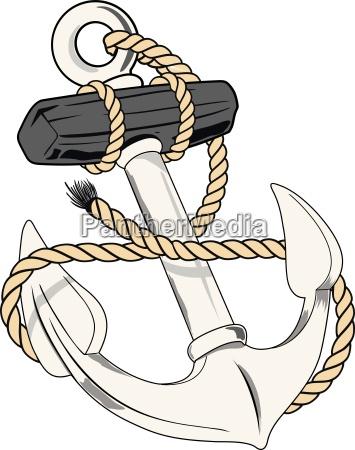 illustrazione metallo nautico ancora marino vettore