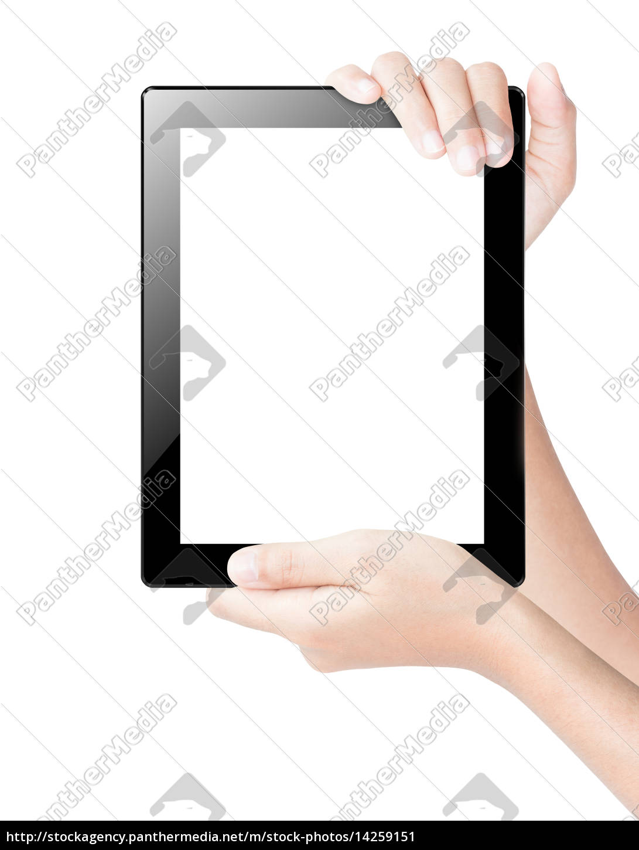 mano, tenendo, tablet, digitale, isolato, bianco - 14259151
