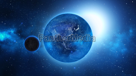 pianeta terra con il sole in