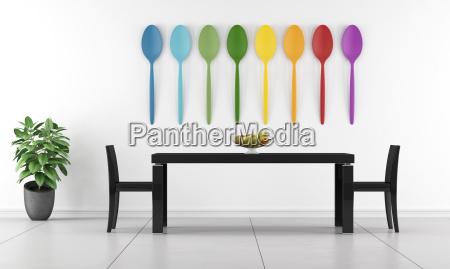 sala da pranzo minimalista tavolo nero