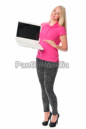 woman at the laptop is giving