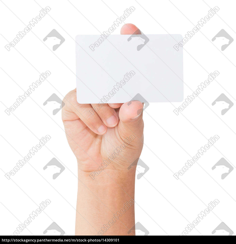 mano, tenere, carta, bianca, bianca, isolata - 14309101