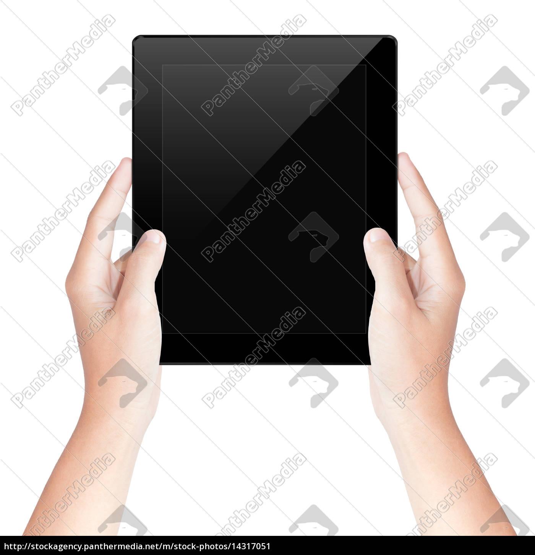 tenerla, a, mano, schermo, tablet, isolato - 14317051