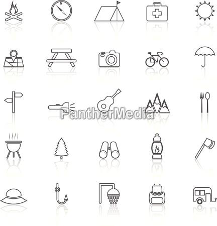 icone delle linee camping con riflettere