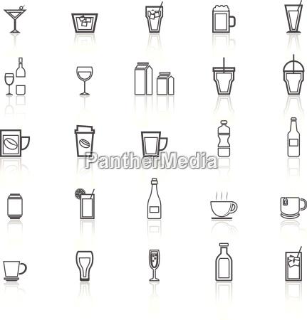 icone linea drink con riflettere su