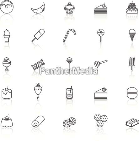 icone delle linee dessert con riflette