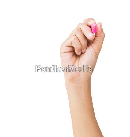 mano, tenendo, penna, colore, isolato, isolato - 14329265