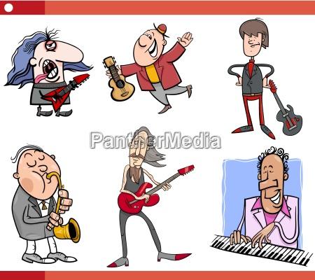 musicisti personaggi set cartone animato