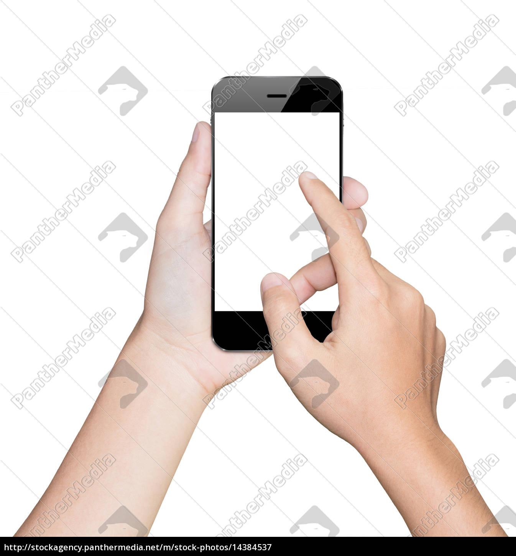 closeup, hand, using, smartphone, white, mobile - 14384537