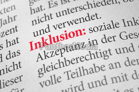 dizionario con il termine inclusione