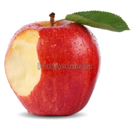frutta di mela rossa morsa con