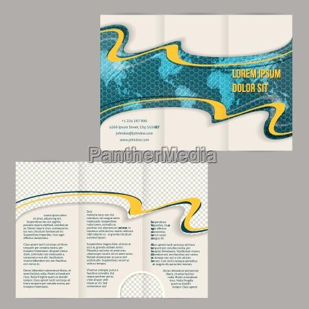 modello tri opuscolo pieghevole con mappa
